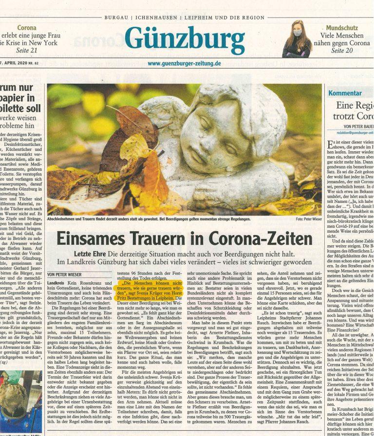 Beerdigung Corona Bayern Bestatter systemrelevant